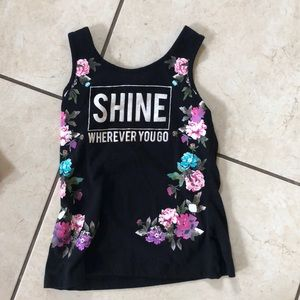 Black and floral girls tank top